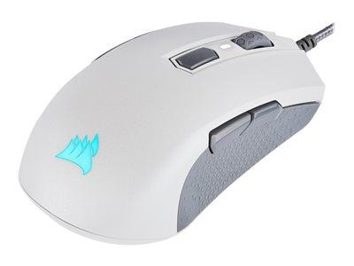 CORSAIR Gaming M55 RGB PRO Optisk Kabling Hvid